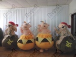 Halloween pumpkins and ghosts mascot costumes